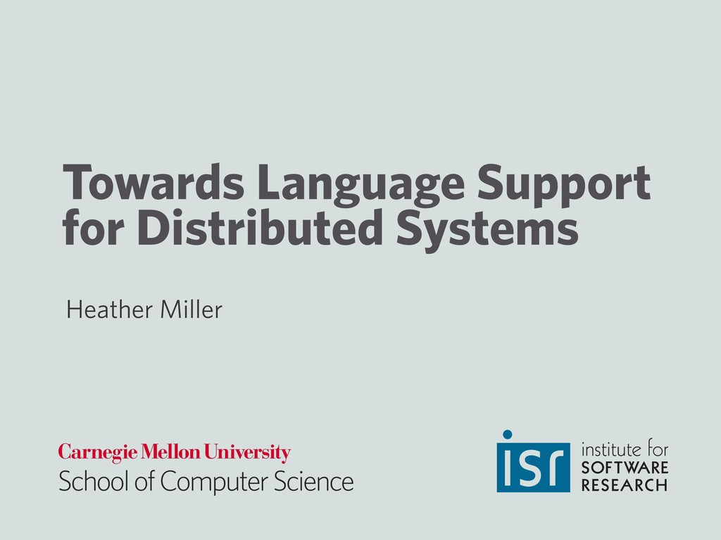 Towards Language Support for Distributed System...
