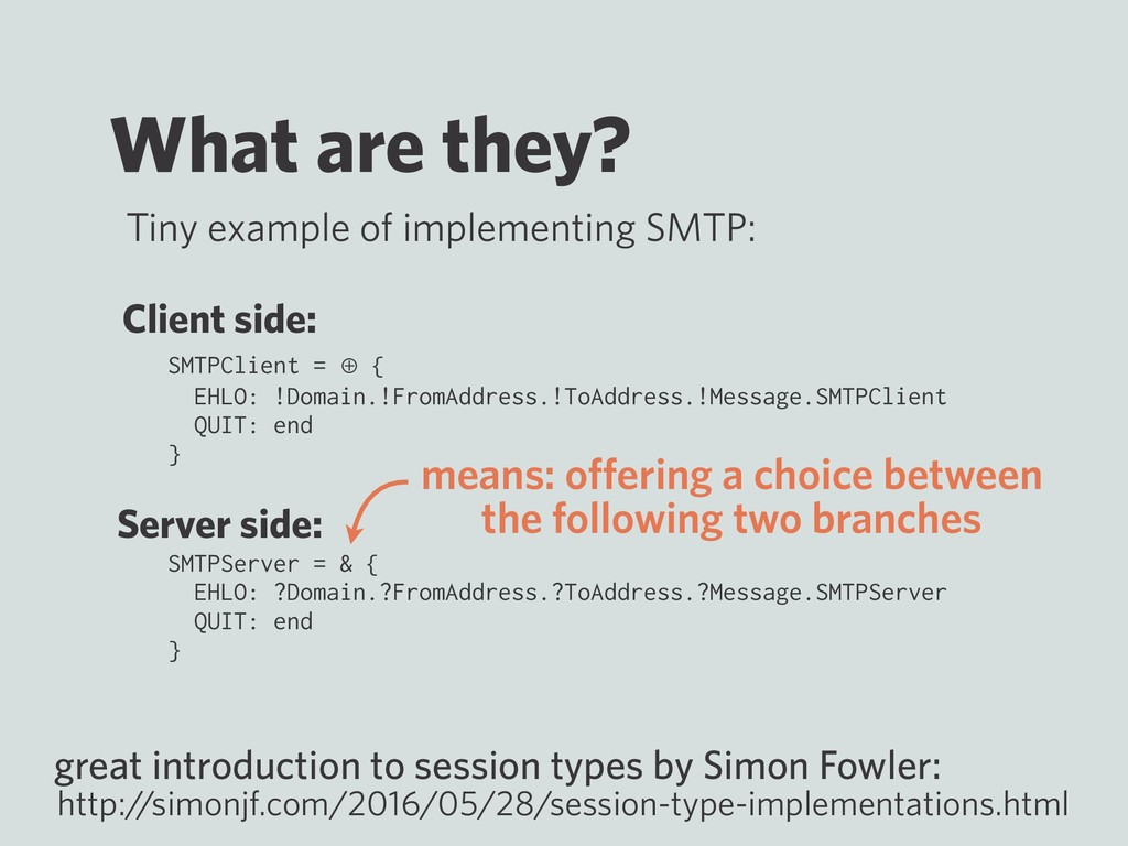 What are they? SMTPClient = ⊕ { EHLO: !Domain.!...