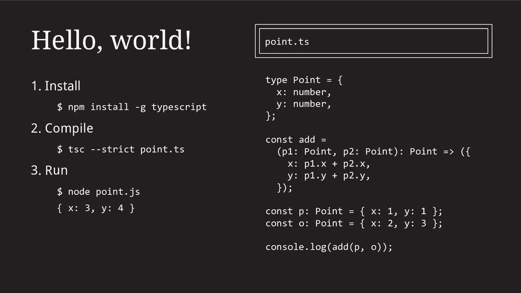 Hello, world! 1. Install $ npm install -g types...