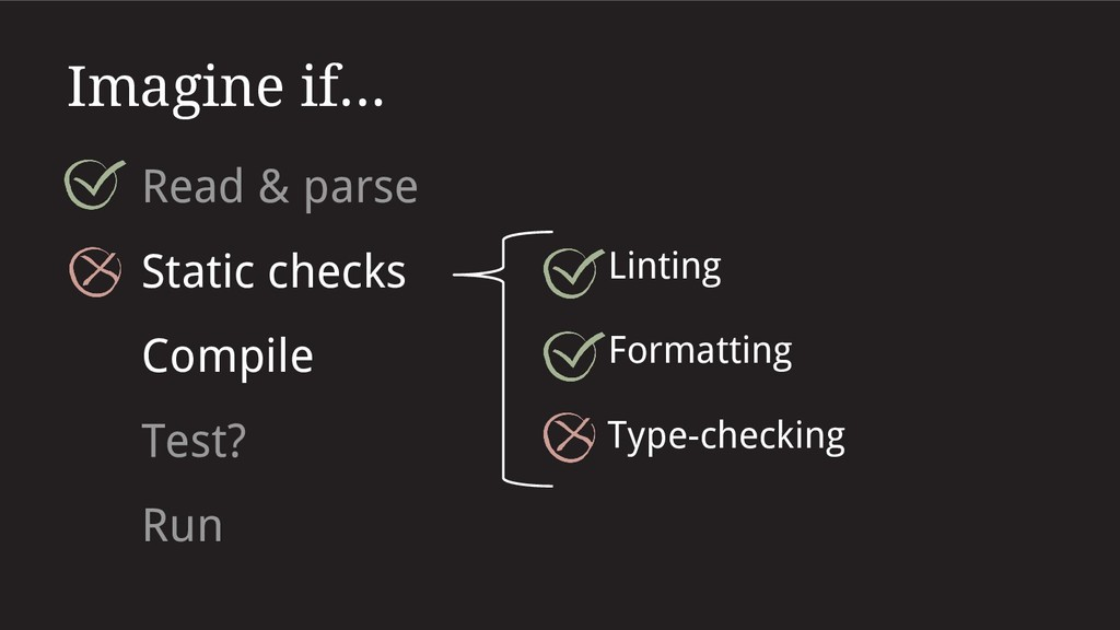 Imagine if... Read & parse Static checks Lintin...