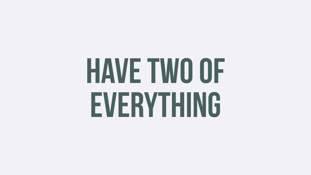 HAVE TWO OF EVERYTHING