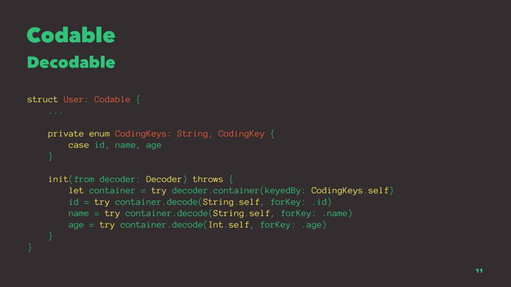 Codable Decodable struct User: Codable { ... pr...