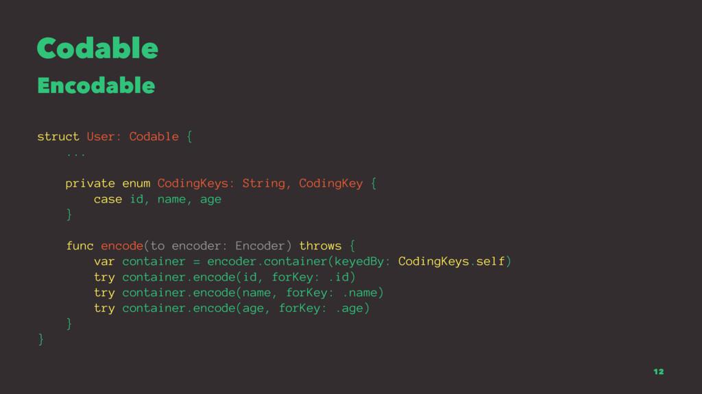 Codable Encodable struct User: Codable { ... pr...