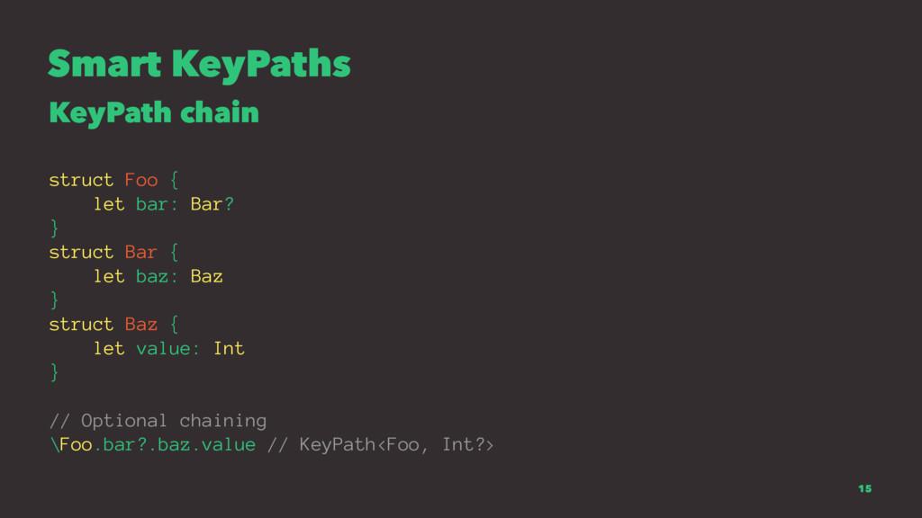 Smart KeyPaths KeyPath chain struct Foo { let b...