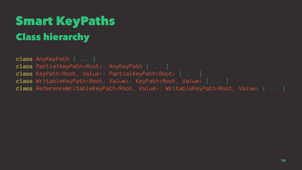 Smart KeyPaths Class hierarchy class AnyKeyPath...