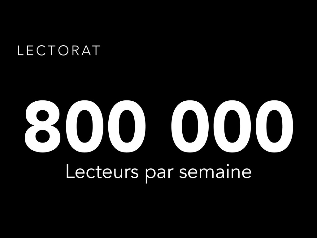 L E C T O R AT 800 000 Lecteurs par semaine