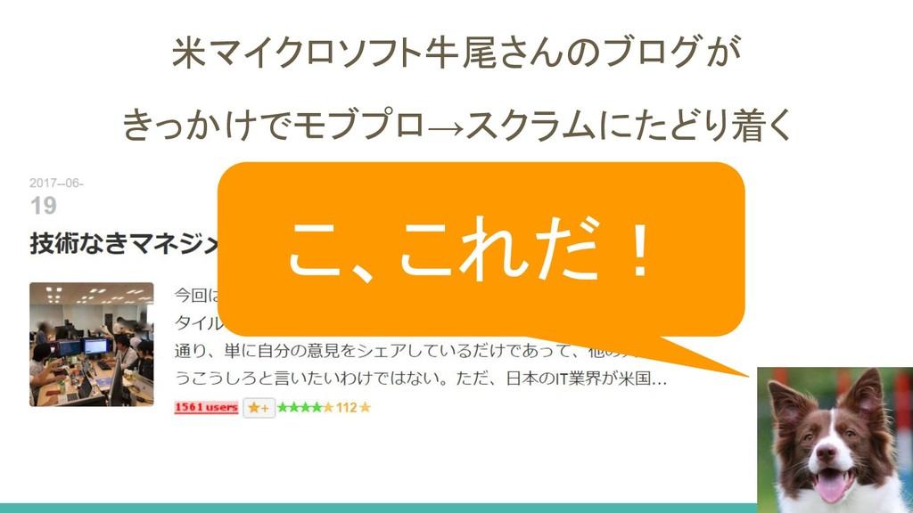 米マイクロソフト牛尾さんのブログが きっかけでモブプロ→スクラムにたどり着く こ、これだ!