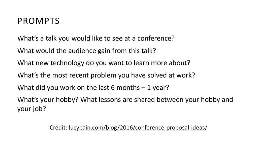PROMPTS What's a talk you would like to see at ...