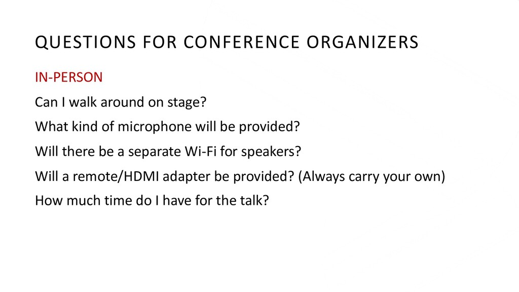 QUESTIONS FOR CONFERENCE ORGANIZERS IN-PERSON C...
