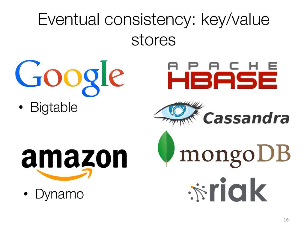 Eventual consistency: key/value stores • Bigt...