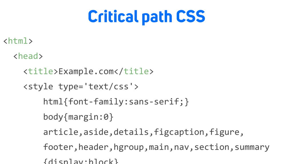 Critical path CSS <html> <head> <title>Example....