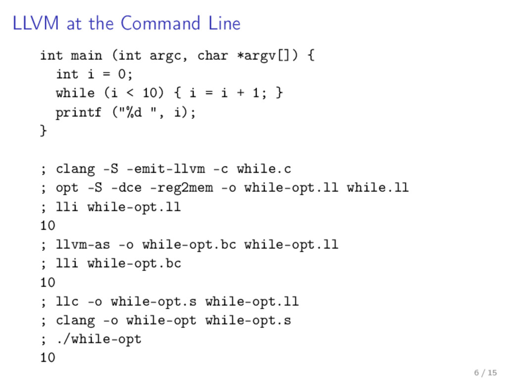LLVM at the Command Line int main (int argc, ch...