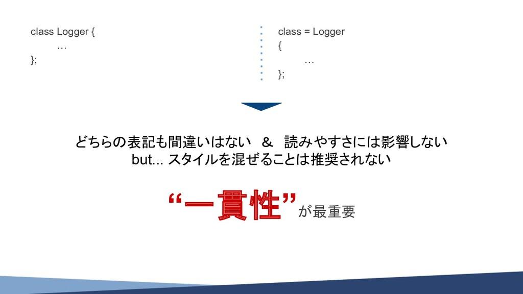 class Logger { … }; class = Logger { … }; どちらの表...