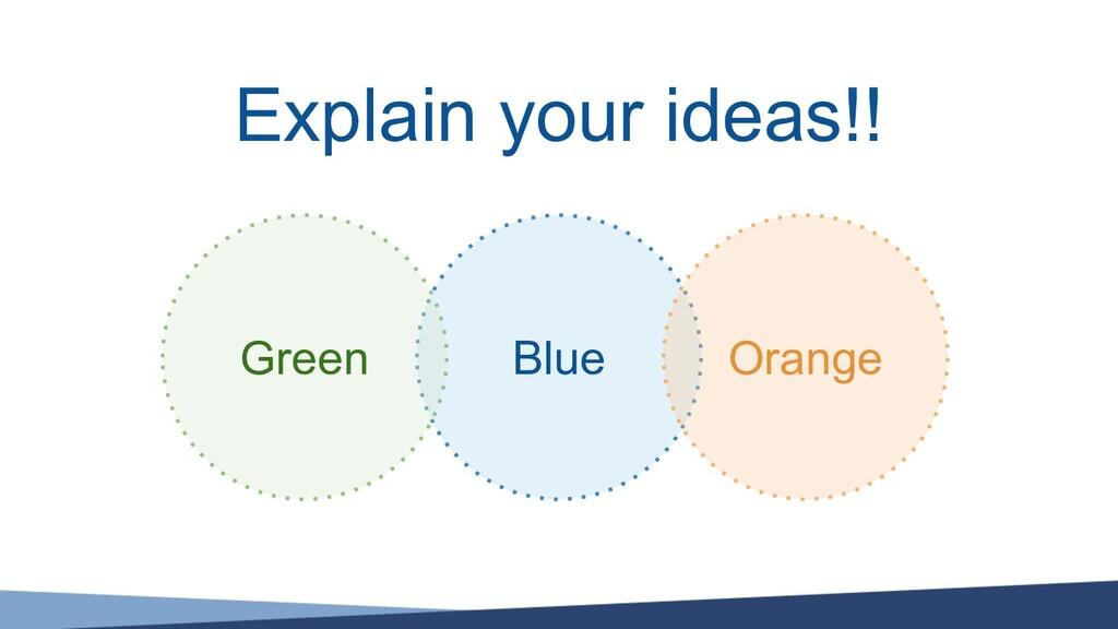Explain your ideas!! Blue Green Orange