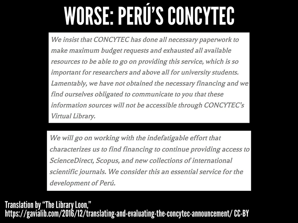 """WORSE: PERÚ'S CONCYTEC Translation by """"The Libr..."""