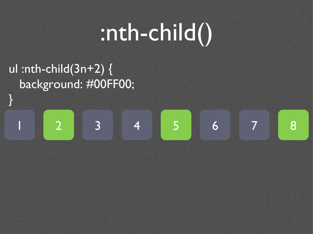 :nth-child() ul :nth-child(3n+2) { background: ...