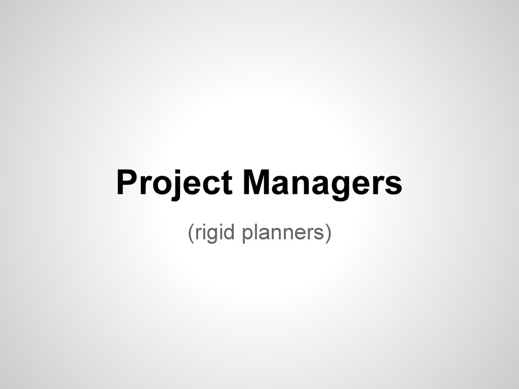 (rigid planners) Project Managers