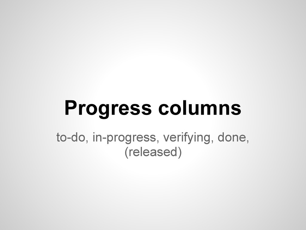 to-do, in-progress, verifying, done, (released)...