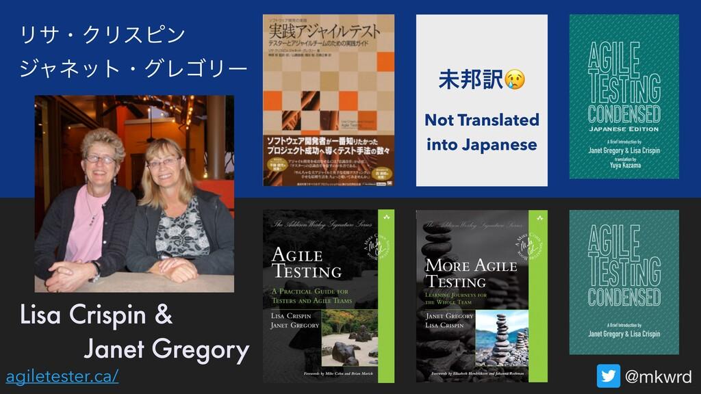 Lisa Crispin & @mkwrd Janet Gregory agiletester...
