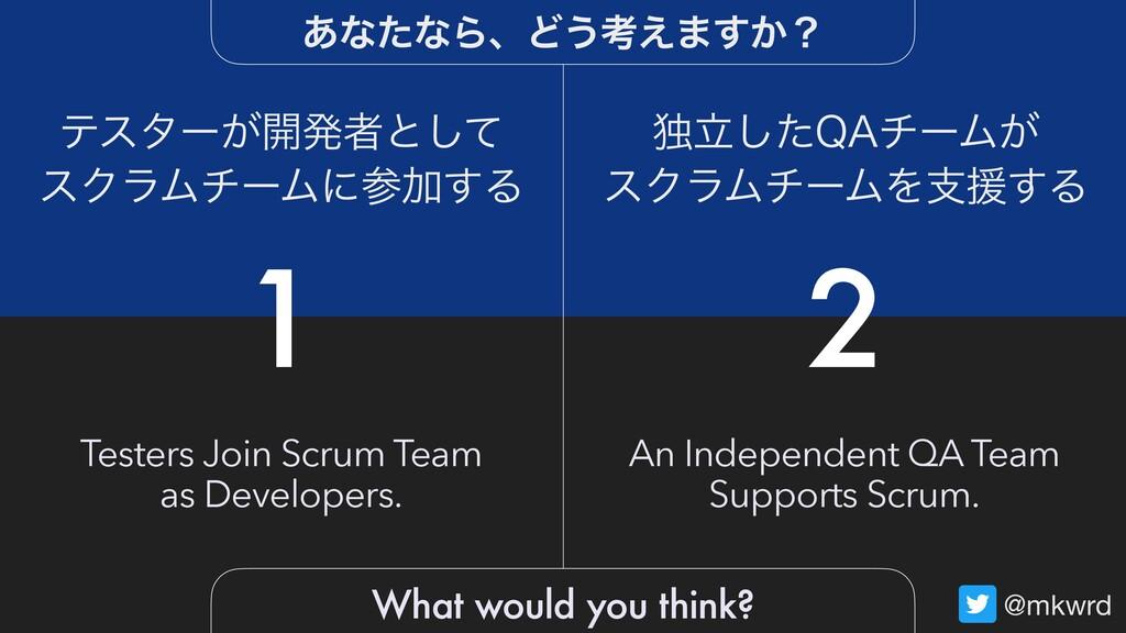 @mkwrd 1 2 Testers Join Scrum Team as Developer...