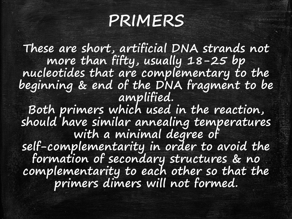 PRIMERS These are short, artificial DNA strands...