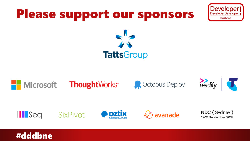 #dddbne Please support our sponsors