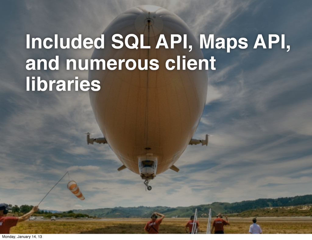Included SQL API, Maps API, and numerous client...