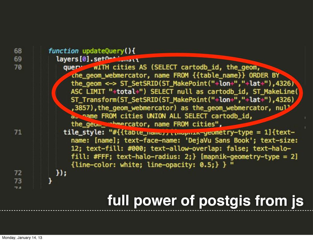 full power of postgis from js Monday, January 1...