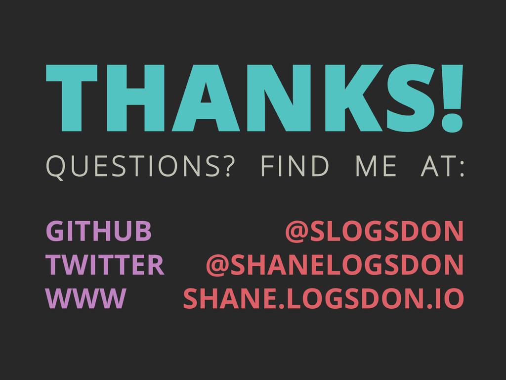 GITHUB TWITTER WWW @SLOGSDON @SHANELOGSDON SHAN...
