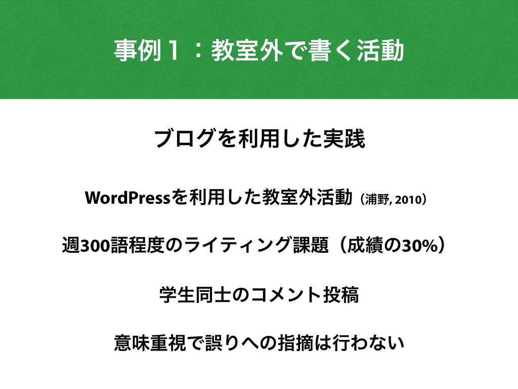 WordPressΛར༻ͨ͠ڭࣨ֎׆ಈʢӜ, 2010ʣ ि300ޠఔͷϥΠςΟϯά՝ʢ...