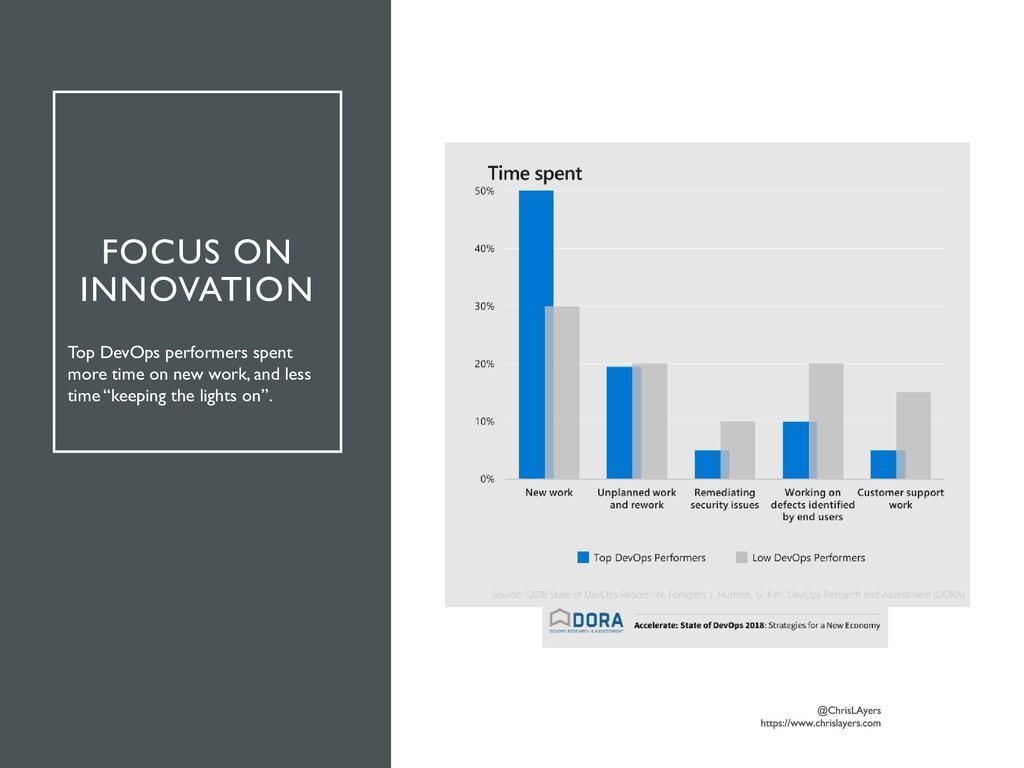 FOCUS ON INNOVATION Top DevOps performers spent...