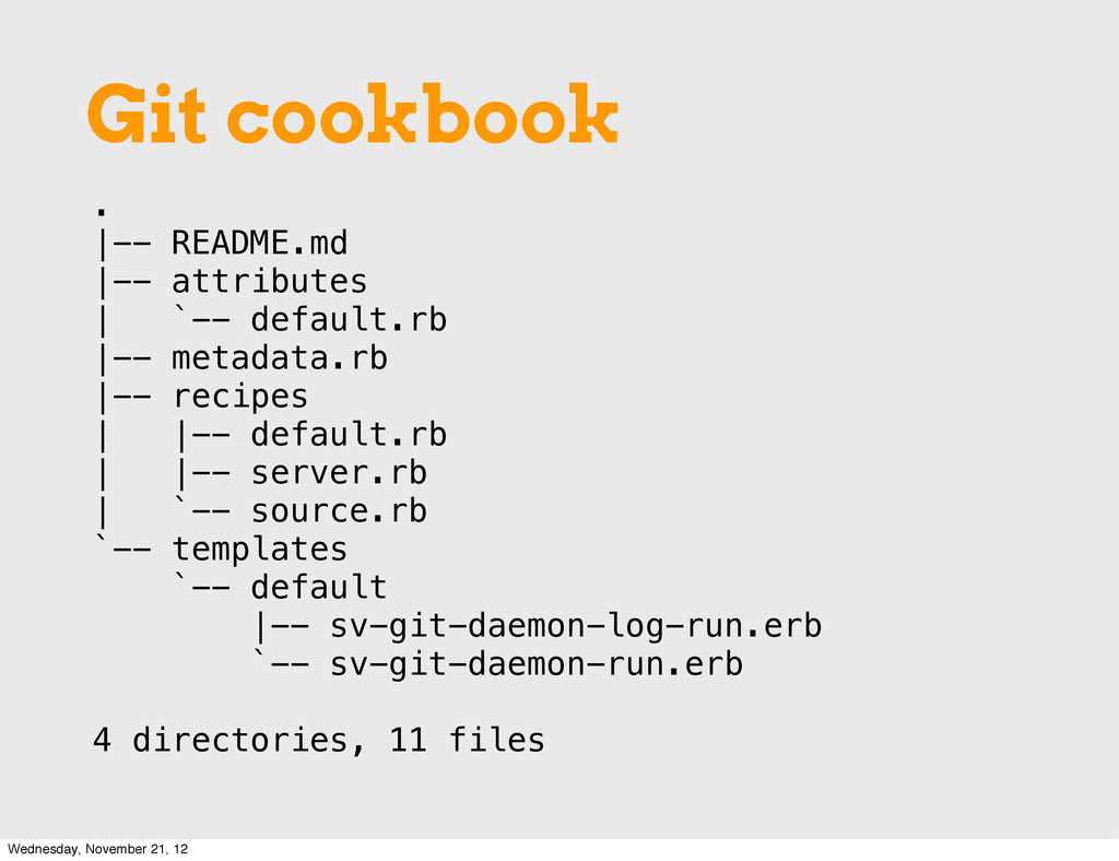 . |-- README.md |-- attributes | `-- default.rb...