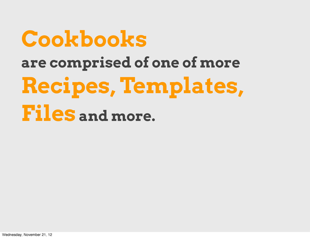 Cookbooks are comprised of one of more Recipes,...