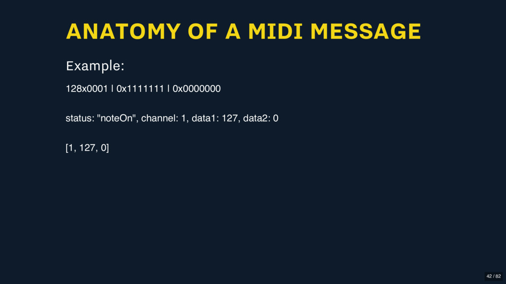 ANATOMY OF A MIDI MESSAGE Example: 128x0001 | 0...