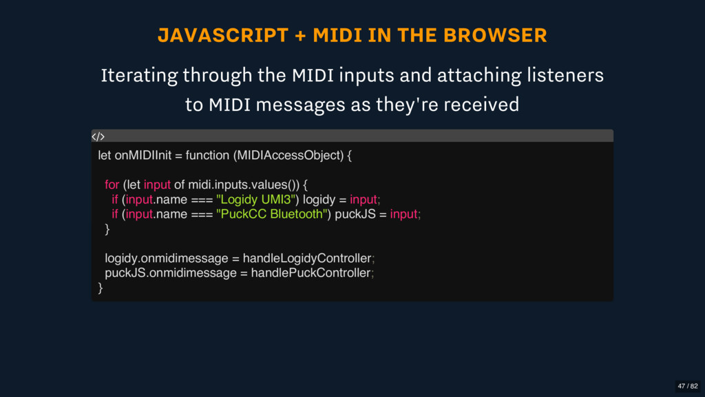 JAVASCRIPT + MIDI IN THE BROWSER Iterating thro...