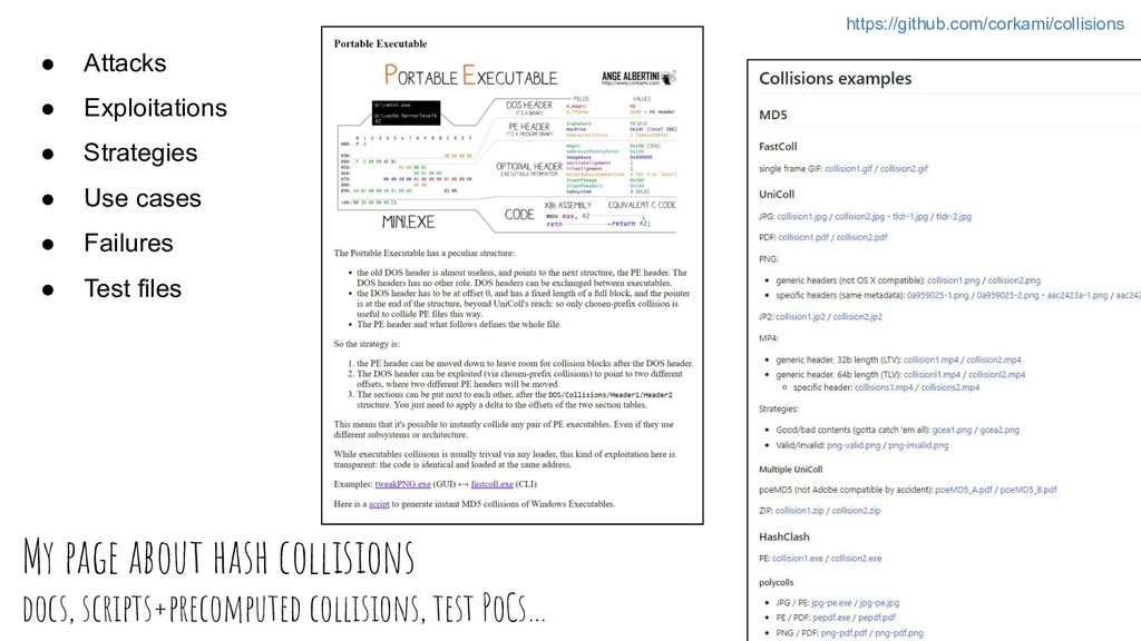 My page about hash collisions docs, scripts+pre...