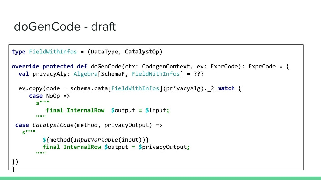 doGenCode - draft type FieldWithInfos = (DataTy...