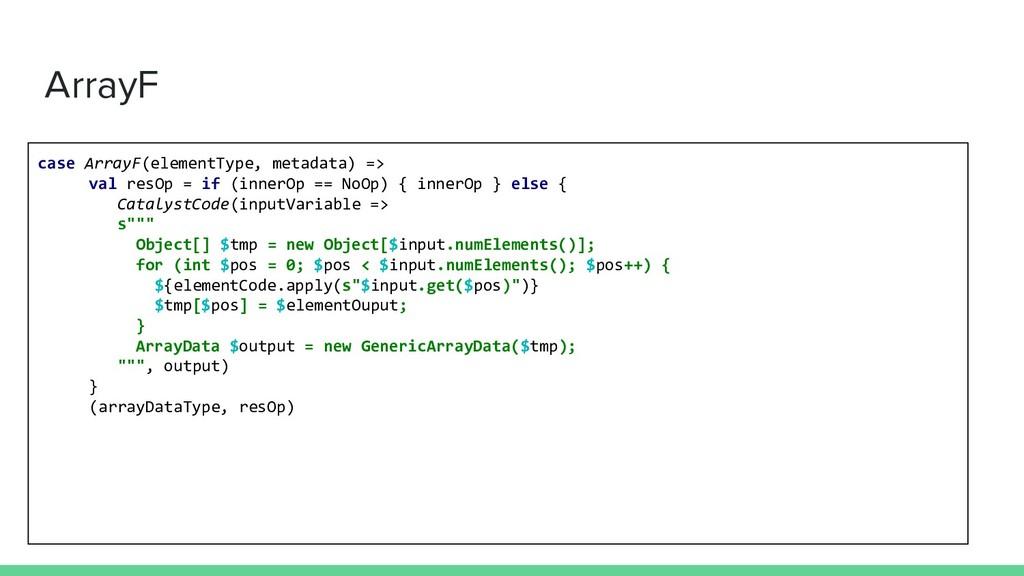 ArrayF case ArrayF(elementType, metadata) => va...