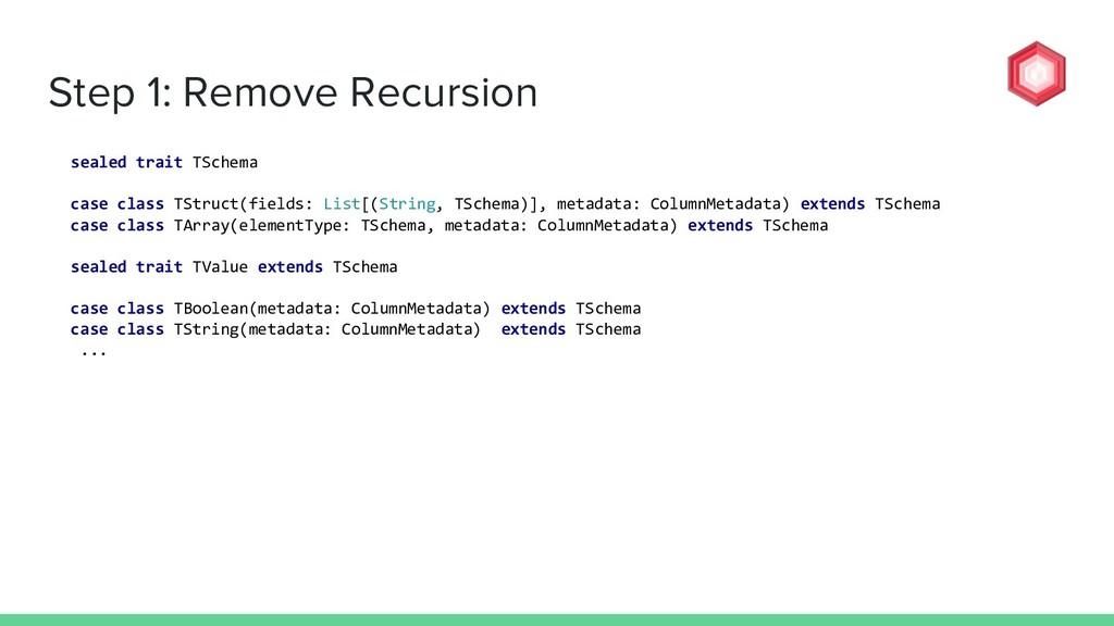 Step 1: Remove Recursion sealed trait TSchema c...