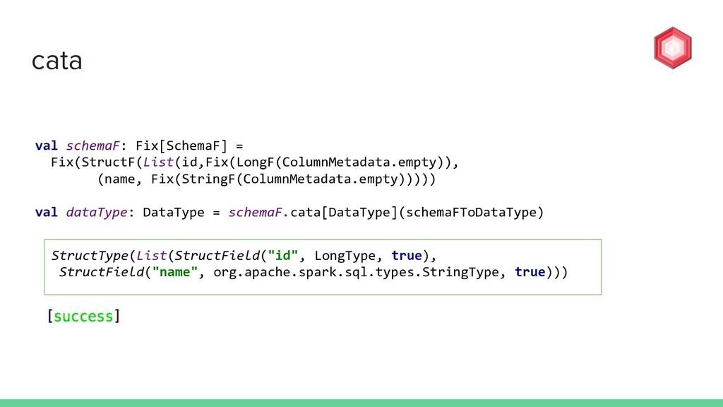 cata val schemaF: Fix[SchemaF] = Fix(StructF(Li...