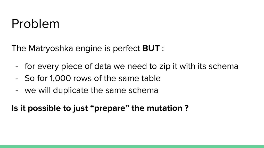 Problem The Matryoshka engine is perfect BUT : ...