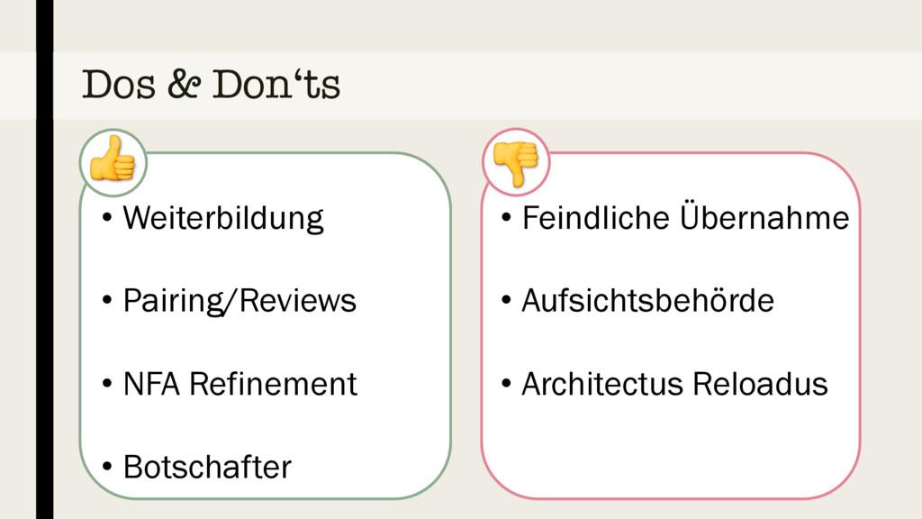 Dos & Don'ts • Weiterbildung • Pairing/Reviews ...