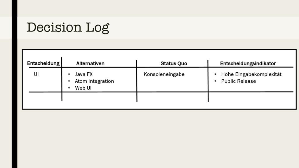 Decision Log UI • Java FX • Atom Integration • ...
