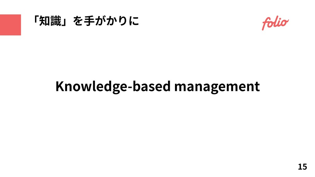 Knowledge-based management 15 「知識」を⼿がかりに