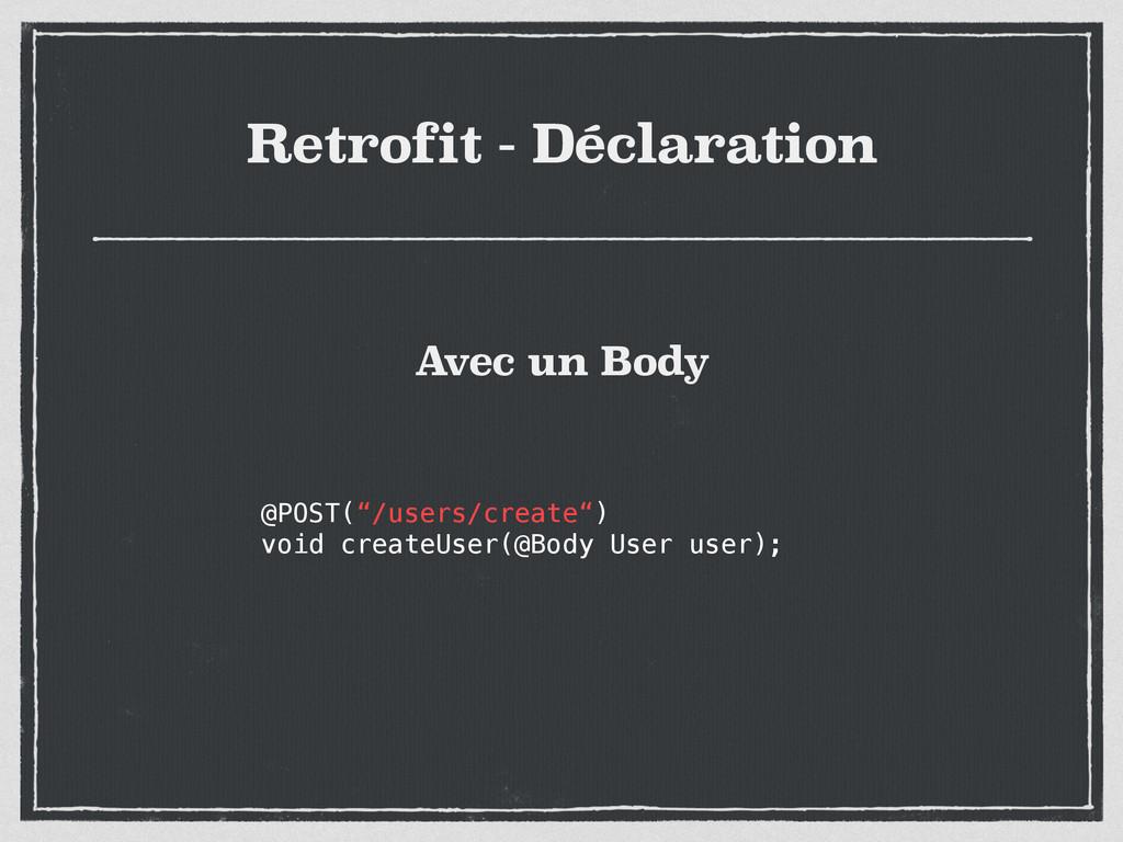 "Retrofit - Déclaration @POST(""/users/create"") v..."