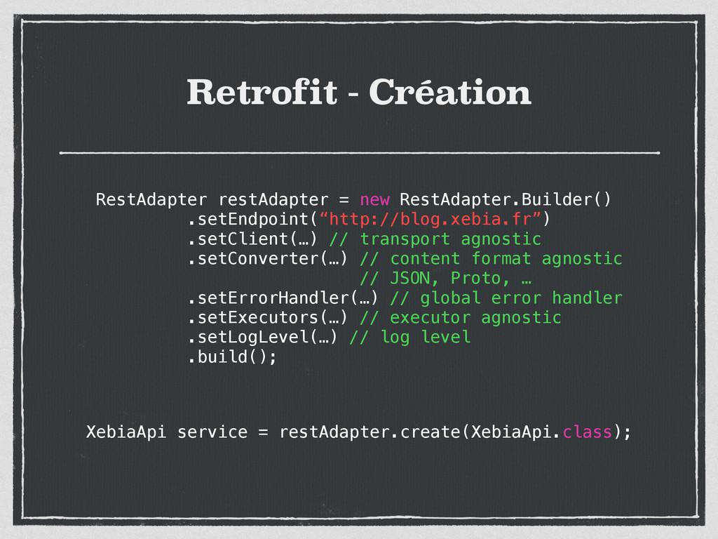 Retrofit - Création RestAdapter restAdapter = n...