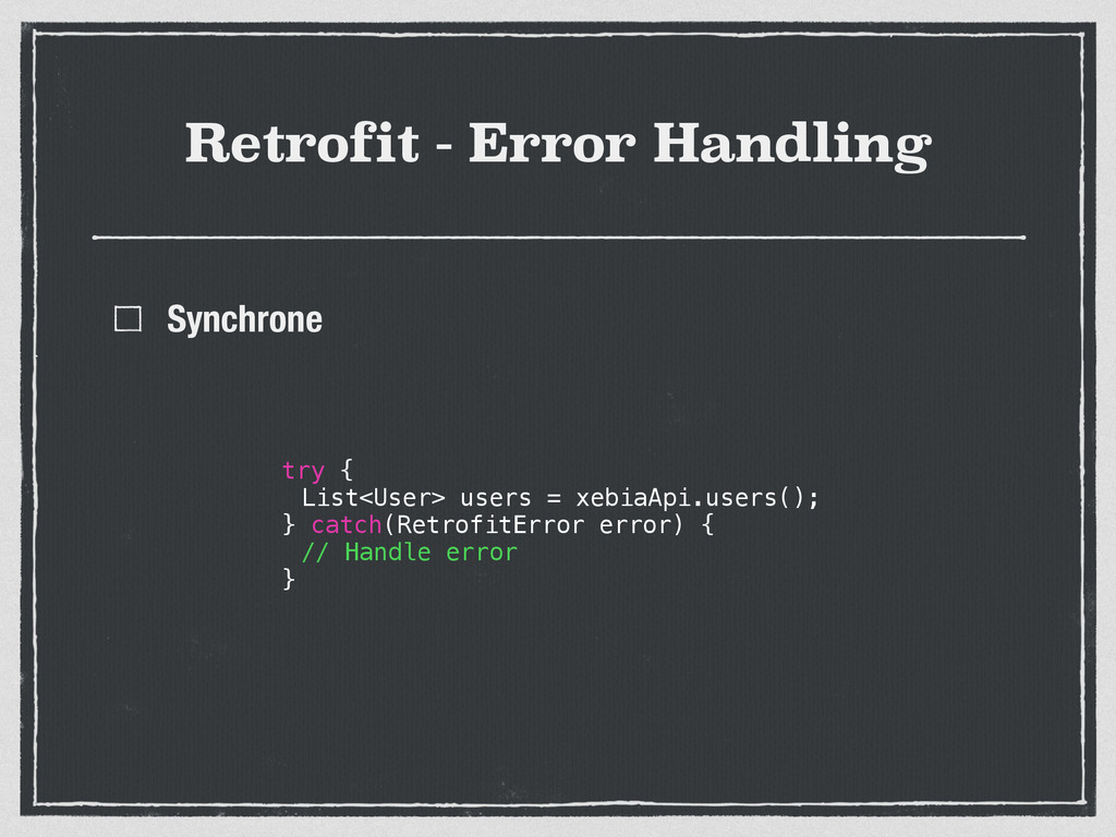 Retrofit - Error Handling Synchrone try { List<...