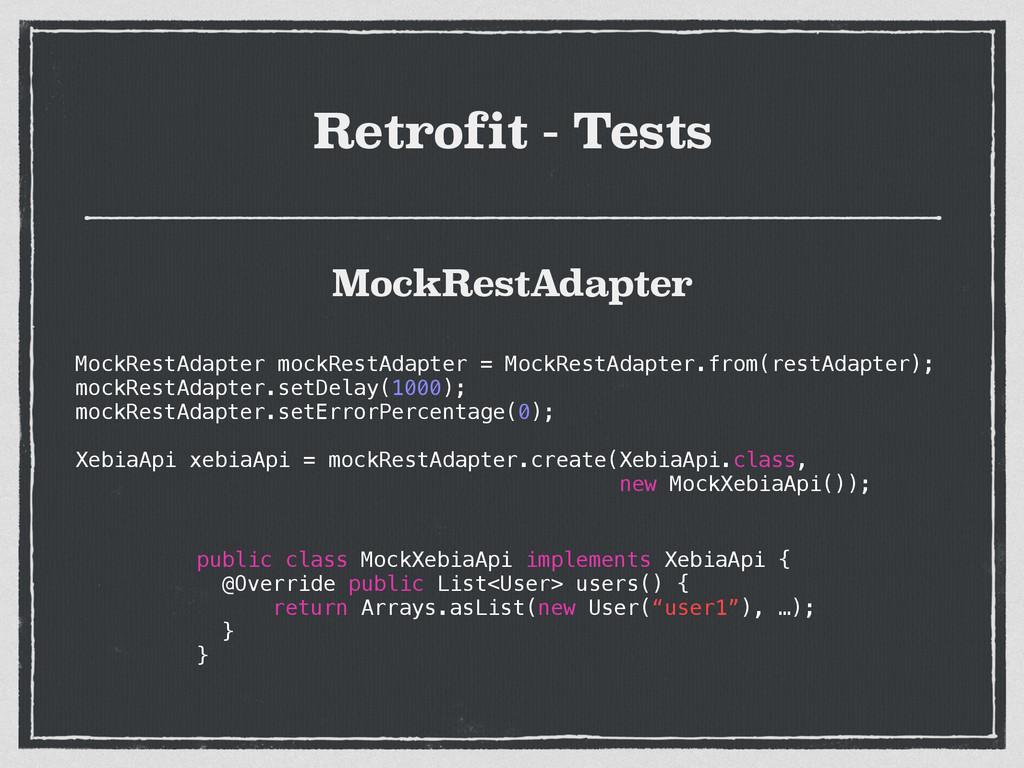 Retrofit - Tests MockRestAdapter mockRestAdapte...