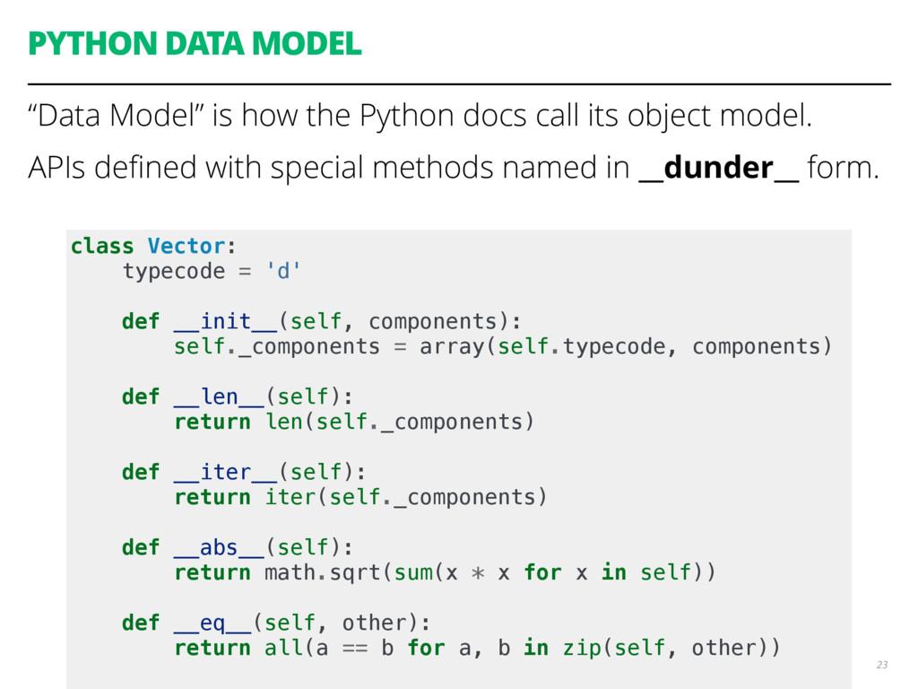 """PYTHON DATA MODEL """"Data Model"""" is how the Pytho..."""