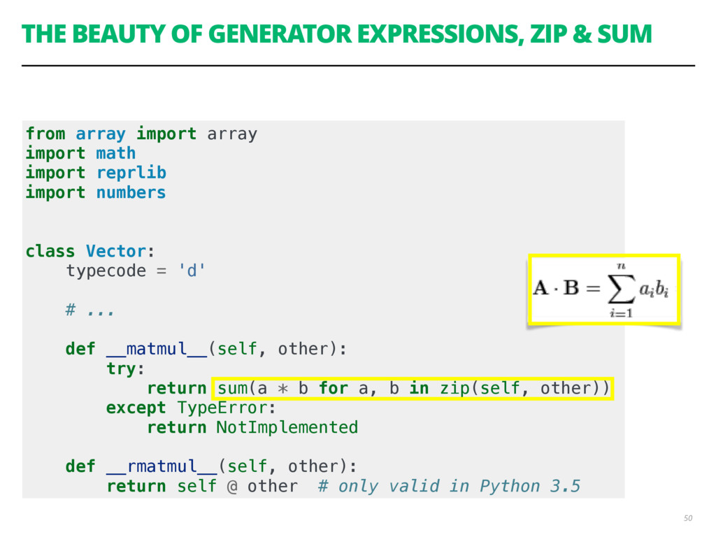 THE BEAUTY OF GENERATOR EXPRESSIONS, ZIP & SUM ...